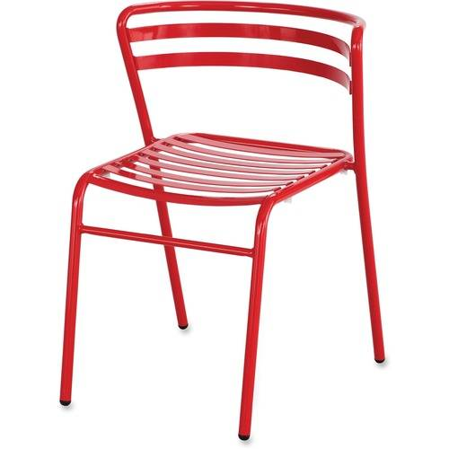 Safco CoGo Steel Outdoor/Indoor Stack Chair, Red, 2/Carton