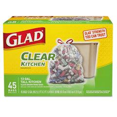 Glad Recycling Tall Kitchen Drawstring Trash Bags, Clear, 13gal, 45/Box, 4 Box/Carton