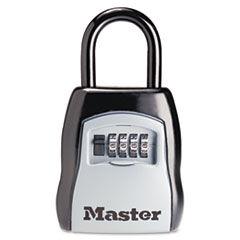 Master Lock Locking Combination 5 Key Steel Box, 3 1/4w x 1 5/8d x 4h, Black/Silver