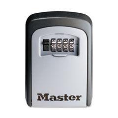 Master Lock Locking Combination 5 Key Steel Box, 3 1/4w x 1 1/2d x 4 5/8h, Black/Silver