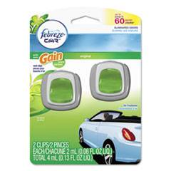 Febreze CAR Air Freshener, Gain Original, 2 ml Clip, 2/Pack, 8 Pk/Carton