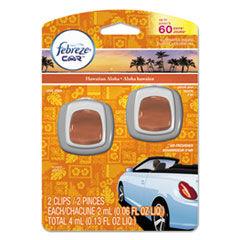 Febreze CAR Air Freshener, Hawaiian Aloha, 2 ml Clip, 2/Pack, 8 Pk/Carton