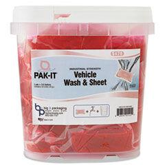 PAK-IT Vehicle Wash & Sheet, Pink, 50 PAK-ITs/Tub, 4 Tubs/Carton