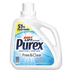 Purex Free and Clear Liquid Laundry Detergent, Unscented, 150 oz Bottle, 4/Carton
