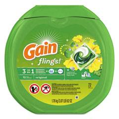 Gain Flings Detergent Pods, Original, 0.06 Pac, 72/Container, 4 Container/Carton