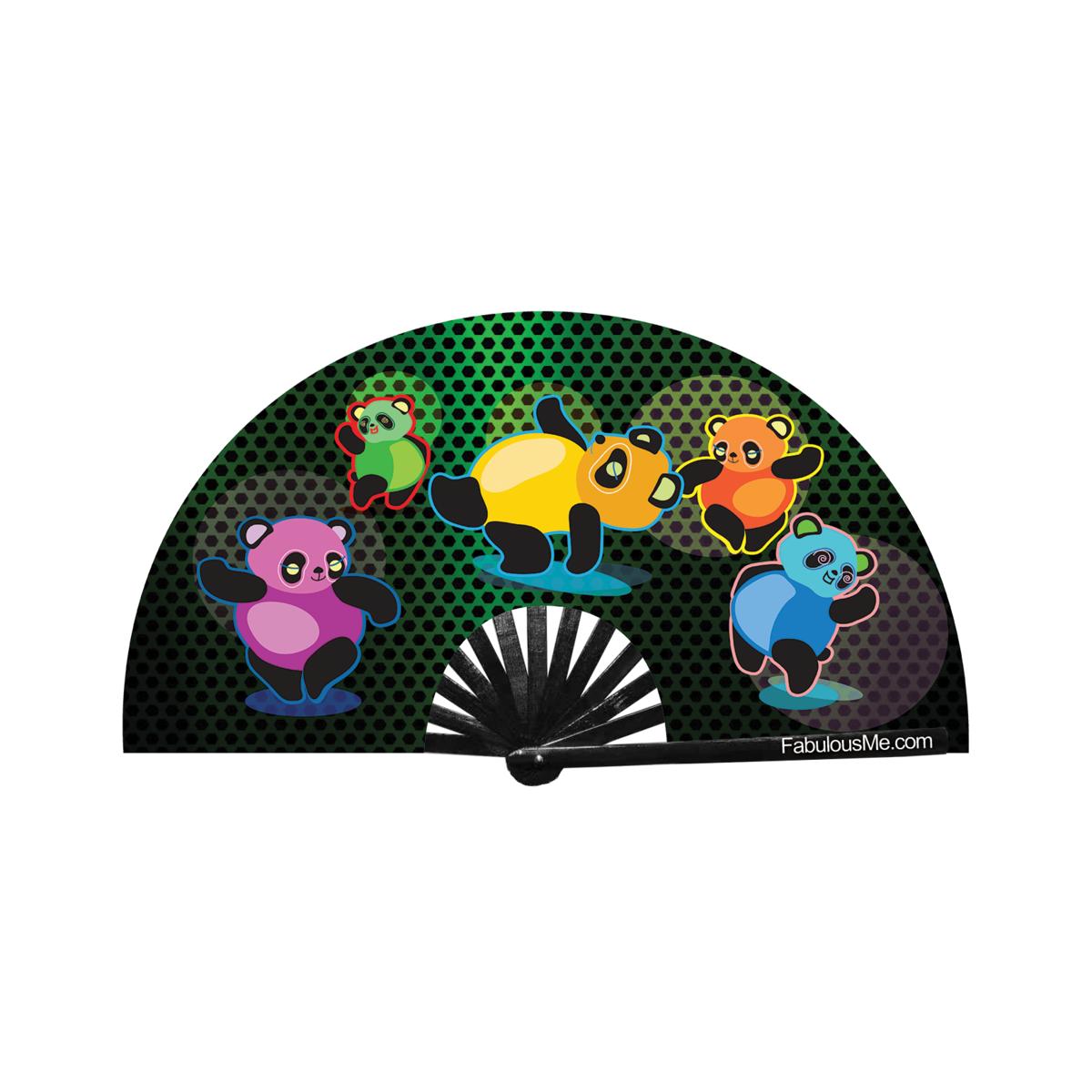 JJMalibu Plur Panda Dancing Fan (UV Glow)