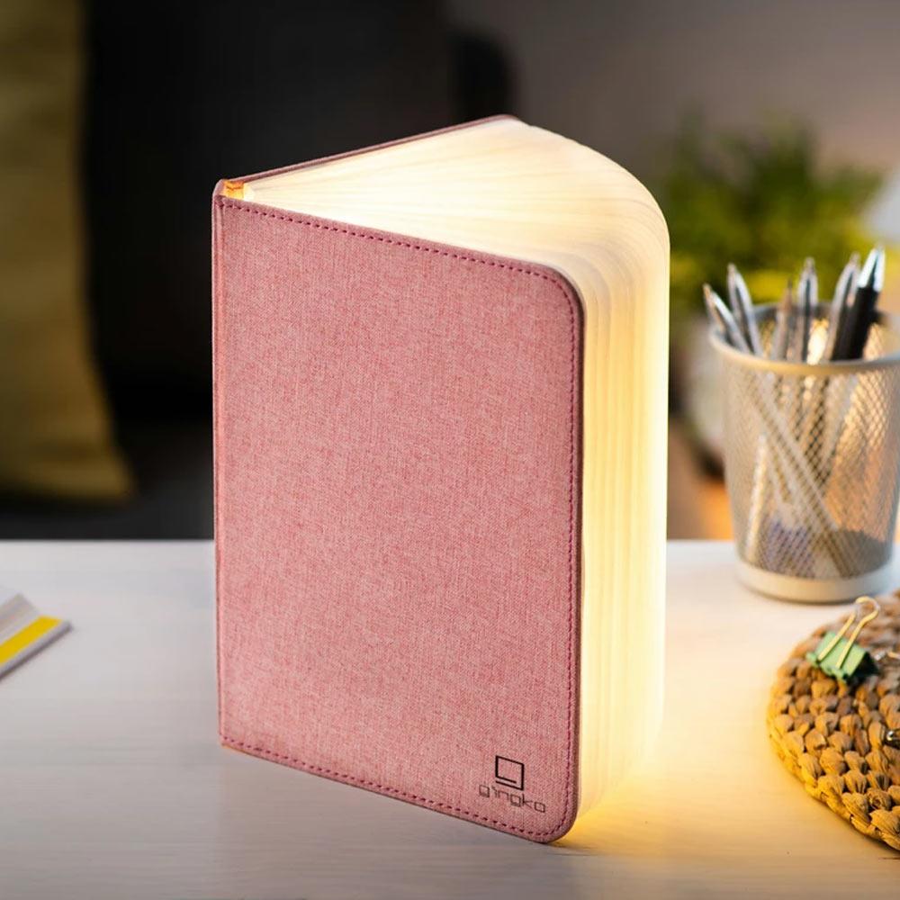 Mini Smart Book Light - Linen Fabric Blush Pink