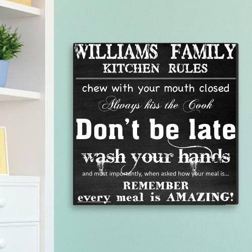 JDS Marketing & Sales Personalized Family Kitchen Rules Canvas Sign