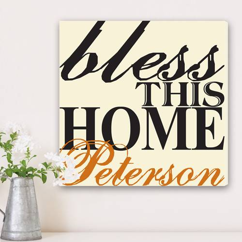 JDS Marketing & Sales Personalized Graffiti Style Print Bless This Home Family Canvas