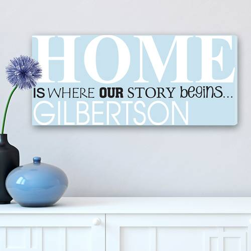 JDS Marketing & Sales Personalized Home Is Where Our Story Begins Wrapped Canvas Sign