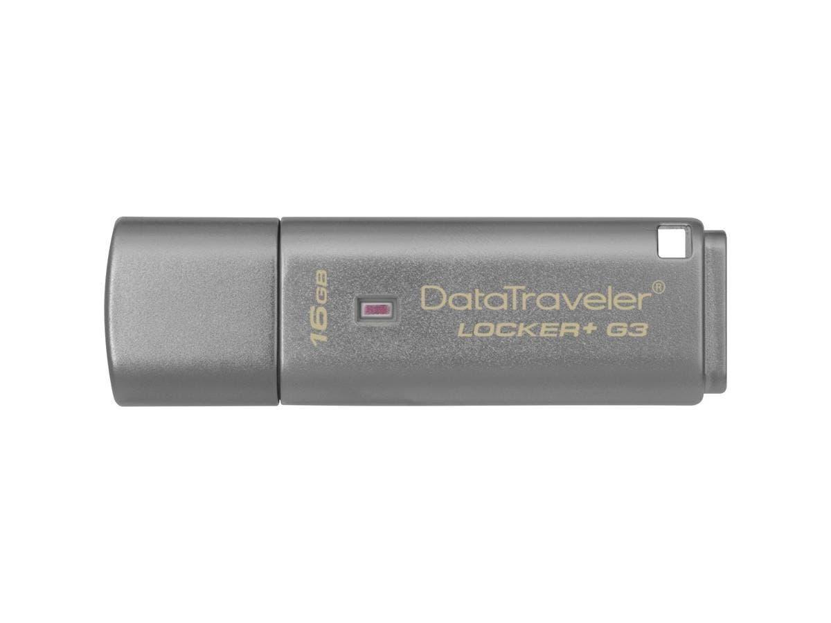 Kingston 16GB DataTraveler Locker+ G3 USB 3.0 Flash Drive - 16 GB - USB 3.0 - Silver - 1 Pack - Encr