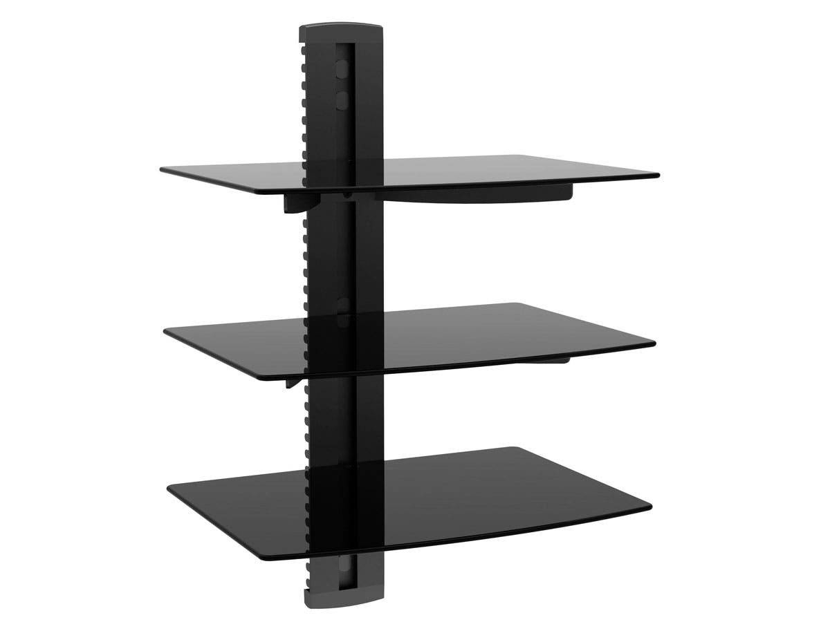 Monoprice 3 Tier Electronic Component Glass Shelf Wall Mount Bracket with Cable Management System