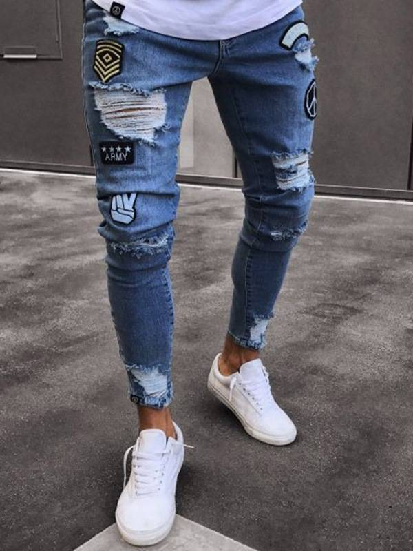 Mens Clothing Blue Ripped Worn Skinny Jeans
