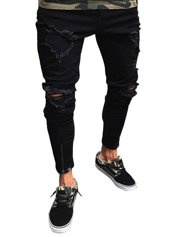 Ericdress Mens Clothing Black Ripped Skinny Jeans