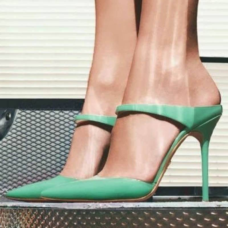 Ericdress Green Closed Toe Plain Stiletto Mules Shoes