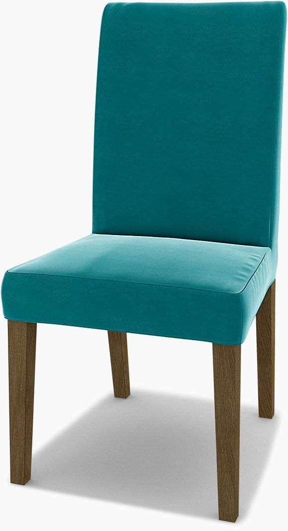 Bemz IKEA - Henriksdal Dining Chair Cover (Large model), Teal Blue, Velvet - Bemz