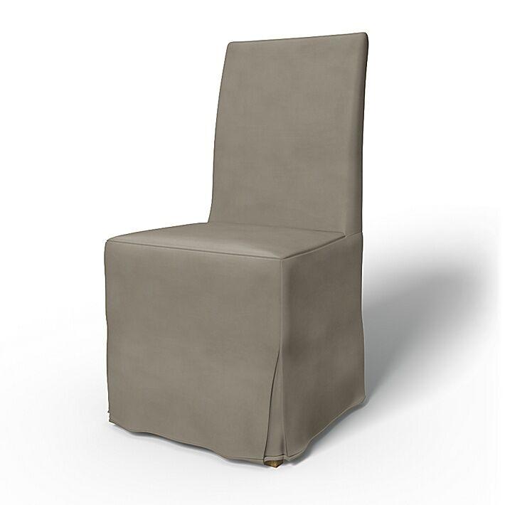Bemz IKEA - Henriksdal Dining Chair Cover Long Skirt with Box Pleat (Large model), Sand Beige, Velvet - Bemz