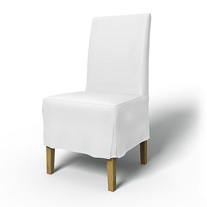 Bemz IKEA - Henriksdal Dining Chair Cover Medium skirt with Box Pleat (Large model), Absolute White, Linen - Bemz