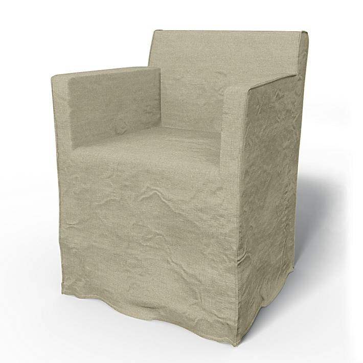 Bemz IKEA - Nils Dining Chair with Armrests Cover, Pebble, Linen - Bemz