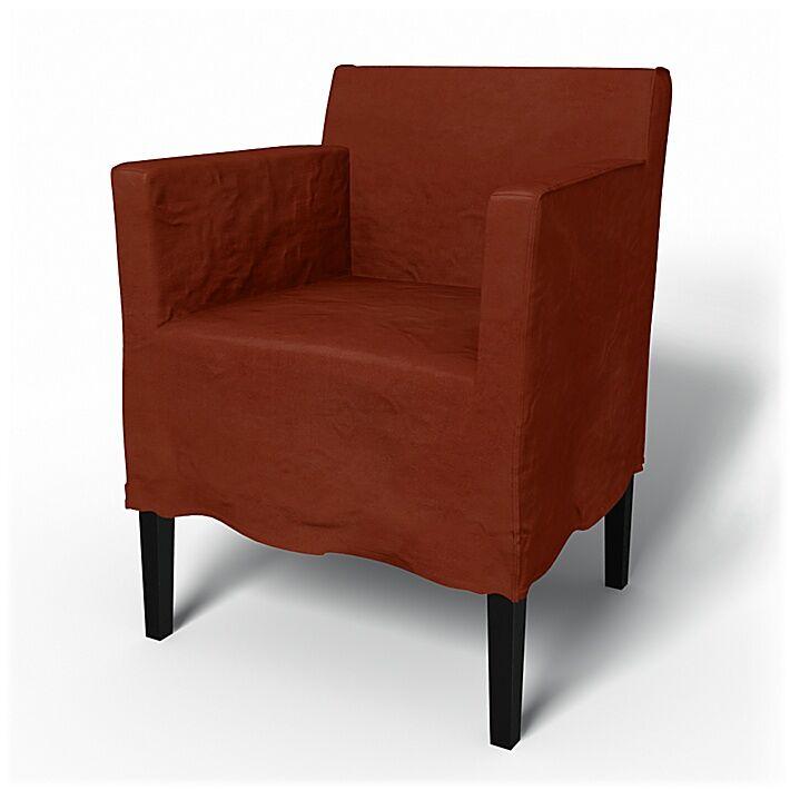Bemz IKEA - Nils Dining Chair with Armrests Cover, Rust, Velvet - Bemz