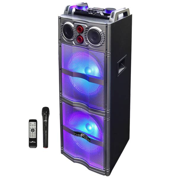BeFree Sound Sound Double Subwoofer Portable Bluetooth Party Speaker With Reactive Lights, 99597501M