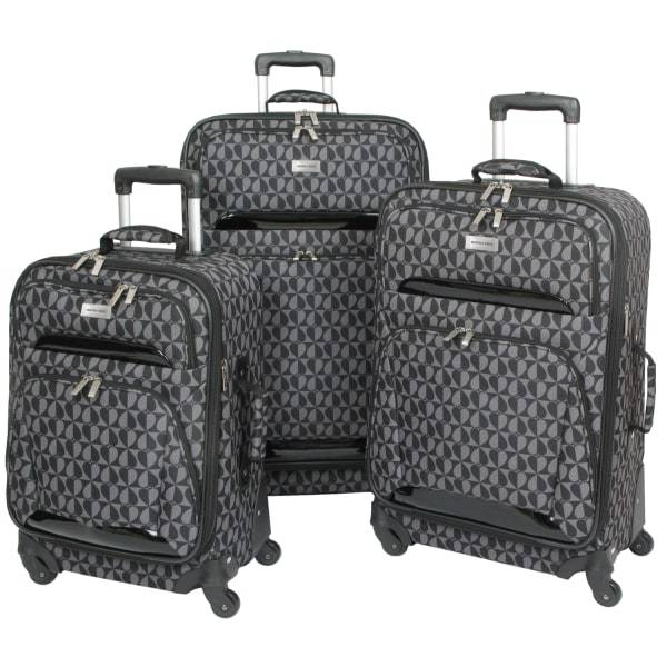 Overland Geoffrey Beene Hearts Fashion 3-Piece Luggage Set, Black/Gray
