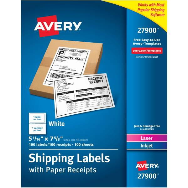 Avery Shipping Labels With Paper Receipts, 27900, 5 1/16