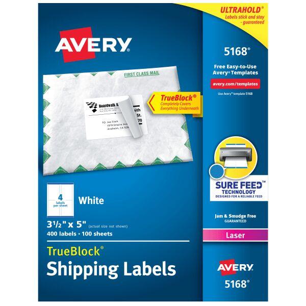 Avery TrueBlock White Laser Shipping Labels, 5168, 3 1/2