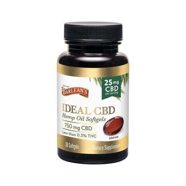 Barleans Ideal CBD Hemp Oil 25mg Softgels 30 Count