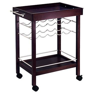 "Winsome Bar Cart with Mirror Top - Brown - 33.19"" h x 30.71"" w x 18.35"" d - Winsome"