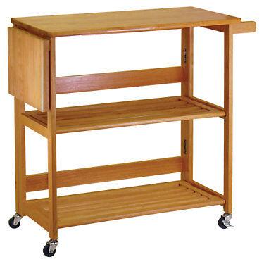 "Winsome Foldable Kitchen Cart - 34.60"" h x 37.80"" w x 17.20"" d - Winsome - WW34137-OAK"