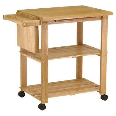 """Winsome Kitchen Cart with Cutting Board and Shelves - Natural - 32"""" h x 33.2"""" w x 20.5"""" d - Winsome"""