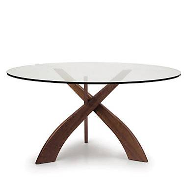 Copeland Furniture Entwine Round Glass Top Dining Table - Walnut - Wood