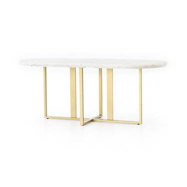 Four Hands Devan Oval Dining Table by Four Hands - White - Metal
