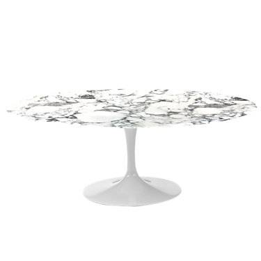 """Knoll Authentic Knoll Saarinen Oval Dining Table, 96"""" - White - Wood/Metal"""