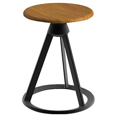 "Knoll Authentic Knoll Piton Outdoor Fixed-Height Stool - Black - 18"" h x 14.25"" w x 14.25"" d - Steel - KNBO10CO-111T-K"