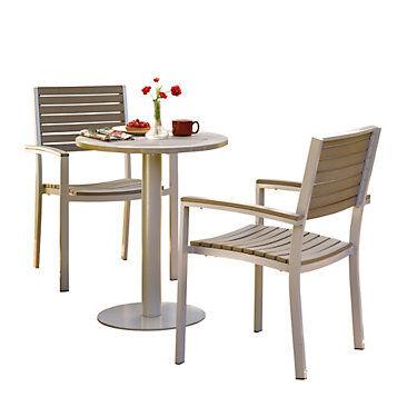 """Oxford Garden Travira 3-Piece Bistro Set with 24"""" Table by Oxford Garden - Wood/Steel"""