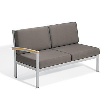 "Oxford Garden Travira Modular Loveseat Right by Oxford Garden Chair - 34.75"" h x 61.5"" w x 32"" d - Wood/Acrylic - OXTVLSR-NST"