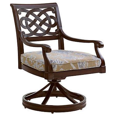 """Tommy Bahama Outdoor Black Sands Swivel Rocker Dining Chair by Tommy Bahama Outdoor - 37"""" h x 25.5"""" w x 30.5"""" d"""