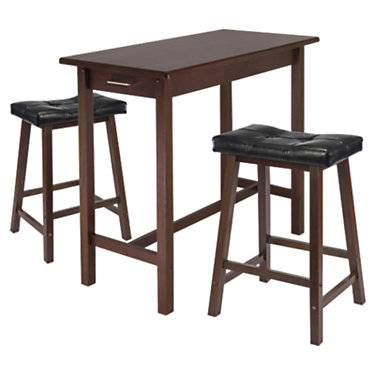 """Winsome Parker 3-Piece Kitchen Island Table with 2 Cushioned Saddle Seat Stools - Walnut - 33.27"""" h x 39.37"""" w x 19.69"""" d - Leather - Winsome"""