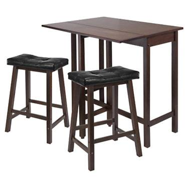 "Winsome Wyatt 3-Piece Drop Leaf Kitchen Table with 2 Cushion Saddle Seat Stools - Walnut - 35.4"" h x 39.4"" w x 30"" d - Winsome"