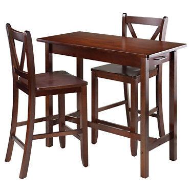 "Winsome Johan 3-Piece Kitchen Island Table with 2 V-Back Stool - Walnut - 33.27"" h x 39.37"" w x 19.69"" d - Winsome"