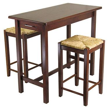 """Winsome Johan 3-Piece Kitchen Island Table with 2 Rush Seat Stools - Walnut - 33.27"""" h x 39.37"""" w x 19.69"""" d - Winsome"""