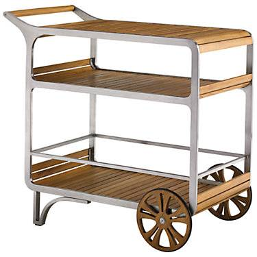 """Tommy Bahama Outdoor Tres Chic Mobile Bar Cart by Tommy Bahama Outdoor - 36.25"""" h x 38"""" w x 22.5"""" d - Wood/Steel"""