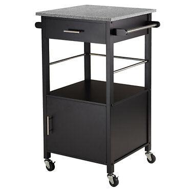 "Winsome Aria Kitchen Cart - Black - 35"" h x 23.30"" w x 18.50"" d - Wood/Metal - Winsome"
