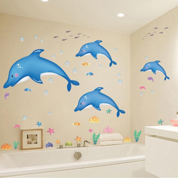 Magenta Angel Fish Dolphin Starfish DIY Wall decals Bathroom