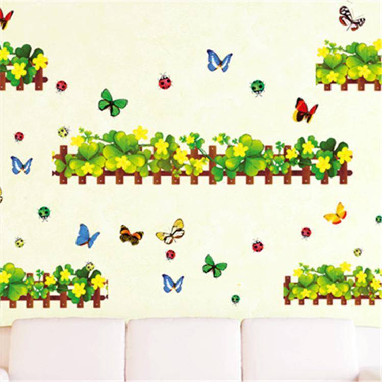Magenta Angel Wonderful Garden Four-leaf Clover Wall Stickers