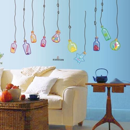 Magenta Angel Drift Bottles Decal DIY Home Room Decor Wall