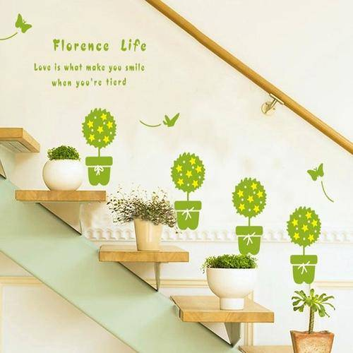 Magenta Angel Plant Flower Pot Wall Stickers Decals Home Decor
