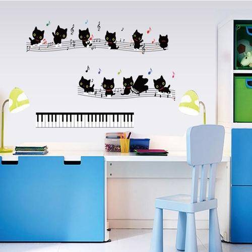 Magenta Angel Music Cat On The Piano Wall Stickers For Kids